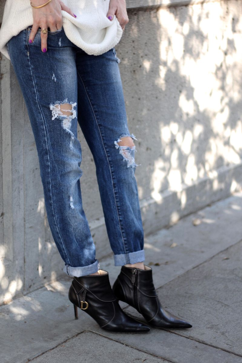 zara denim, dior booties