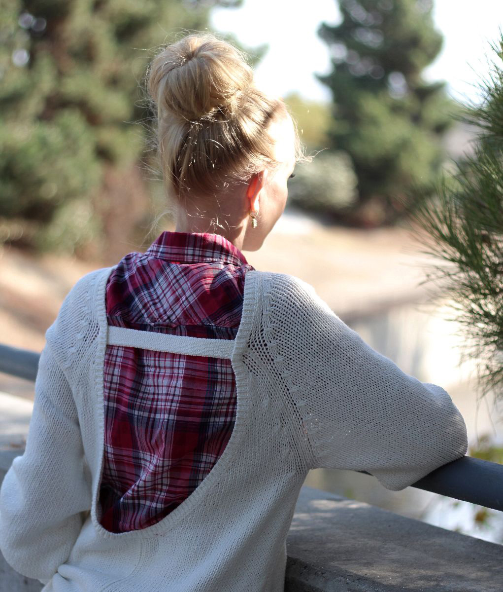 blonde hair bun, plaid shirt