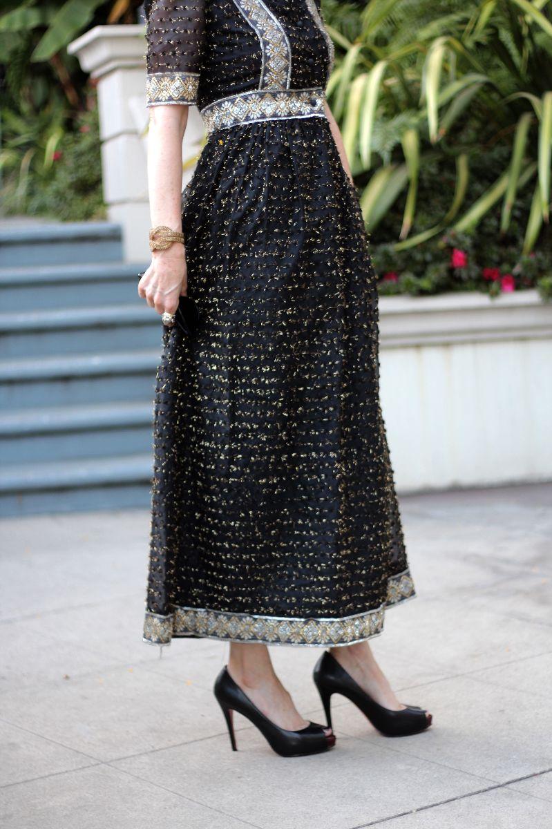 vintage oscar de la renta gown, christian louboutin heels
