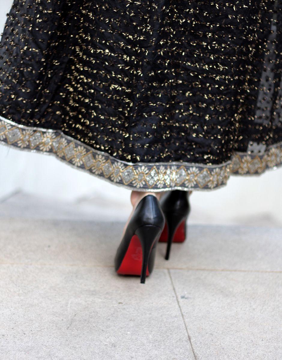oscar de la renta dress, louboutin heels