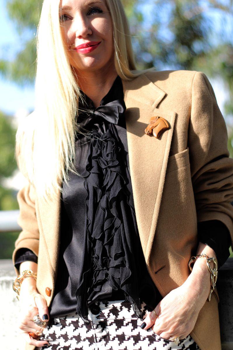 camel blazer, camel sportcoat, givenchy satin ruffle blouse