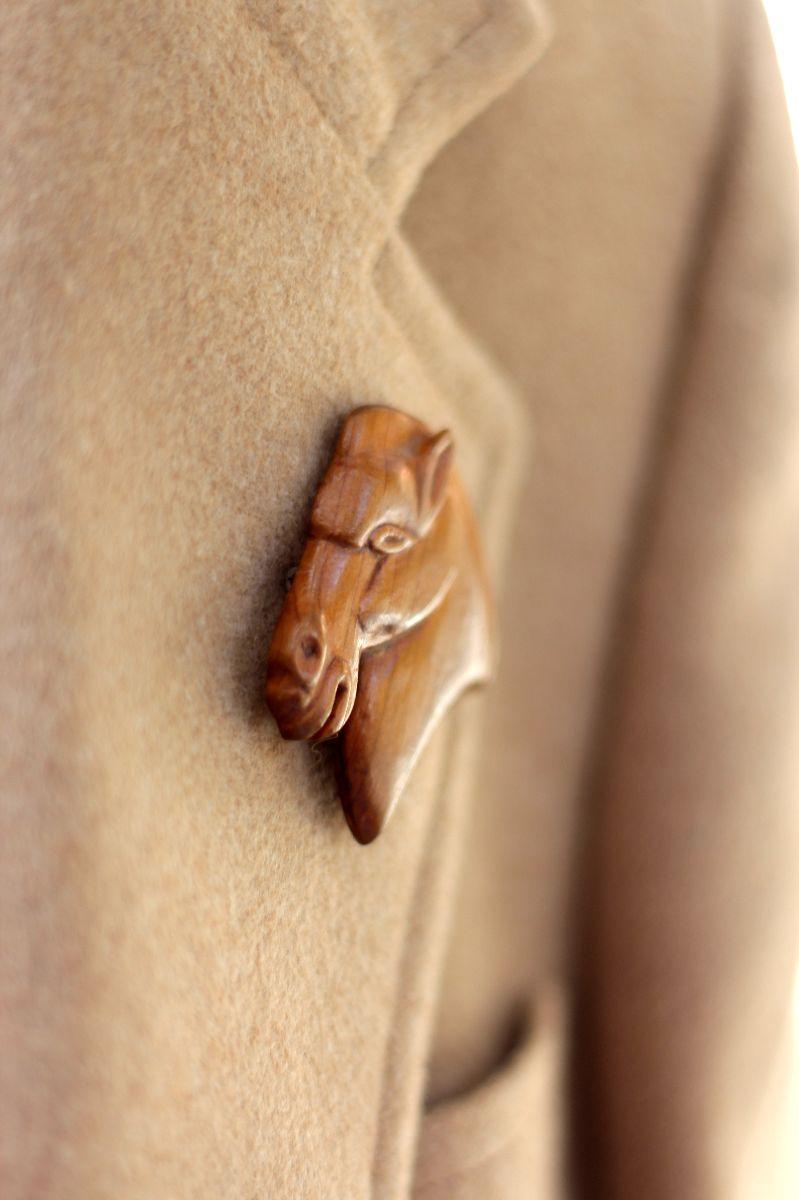 camel blazer, vintage horse pin