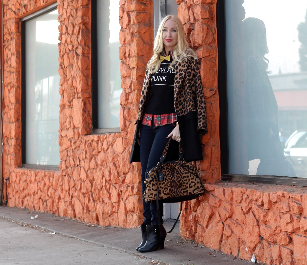 leopard car coat, zara leopard coat, 1969 jeans, ysl leopard satchel