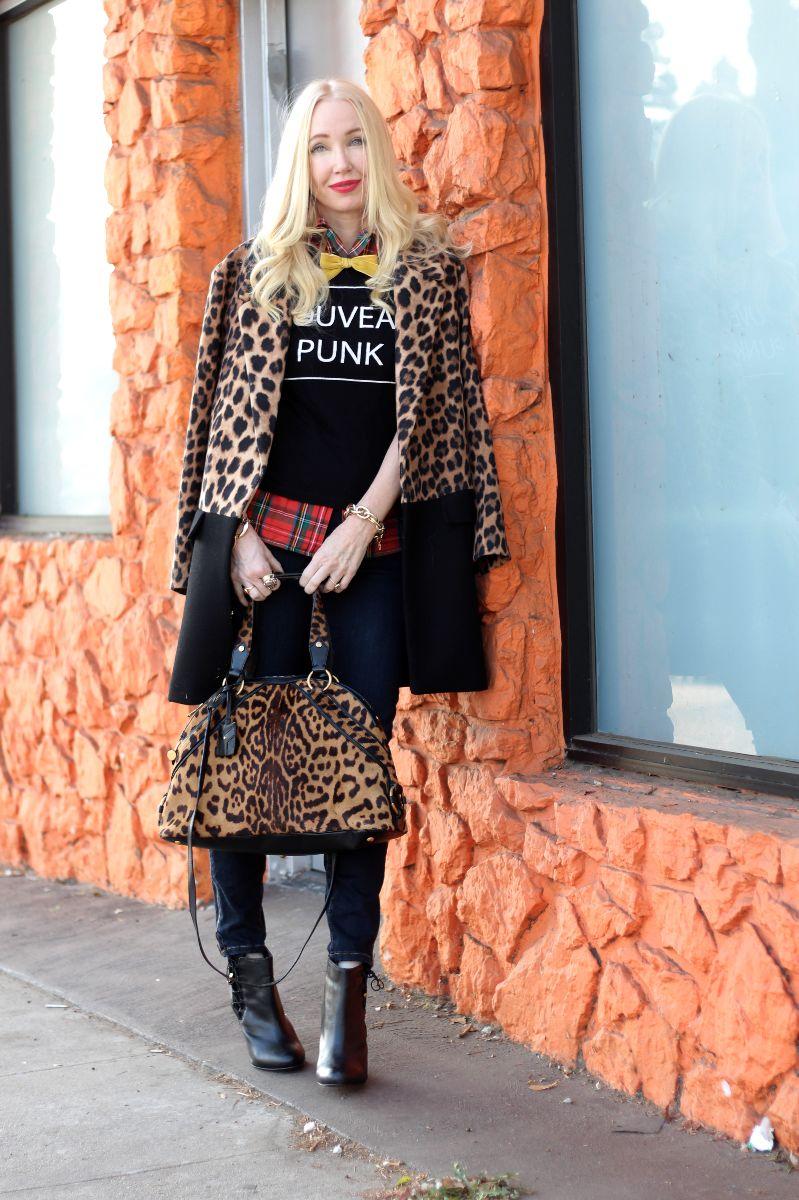 YSL large muse satchel leopard, zara leopard coat, nouveau punk t, yves saint laurent muse leopard