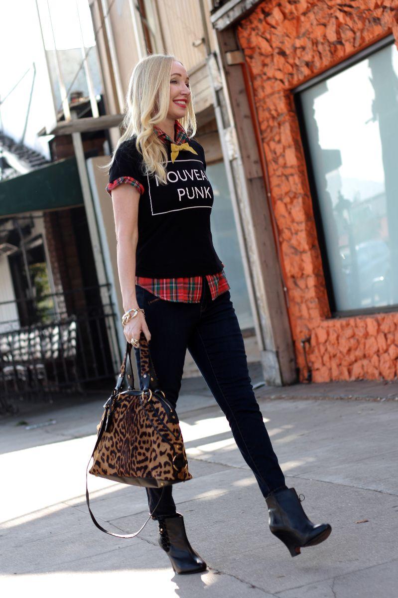 nouveau punk, gap skimmer jeans, ysl calf hair tote