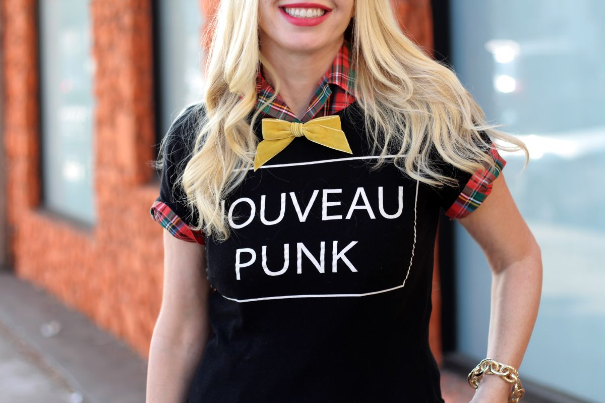 zara nouveau punk tee, plaid shirt, yellow bowtie
