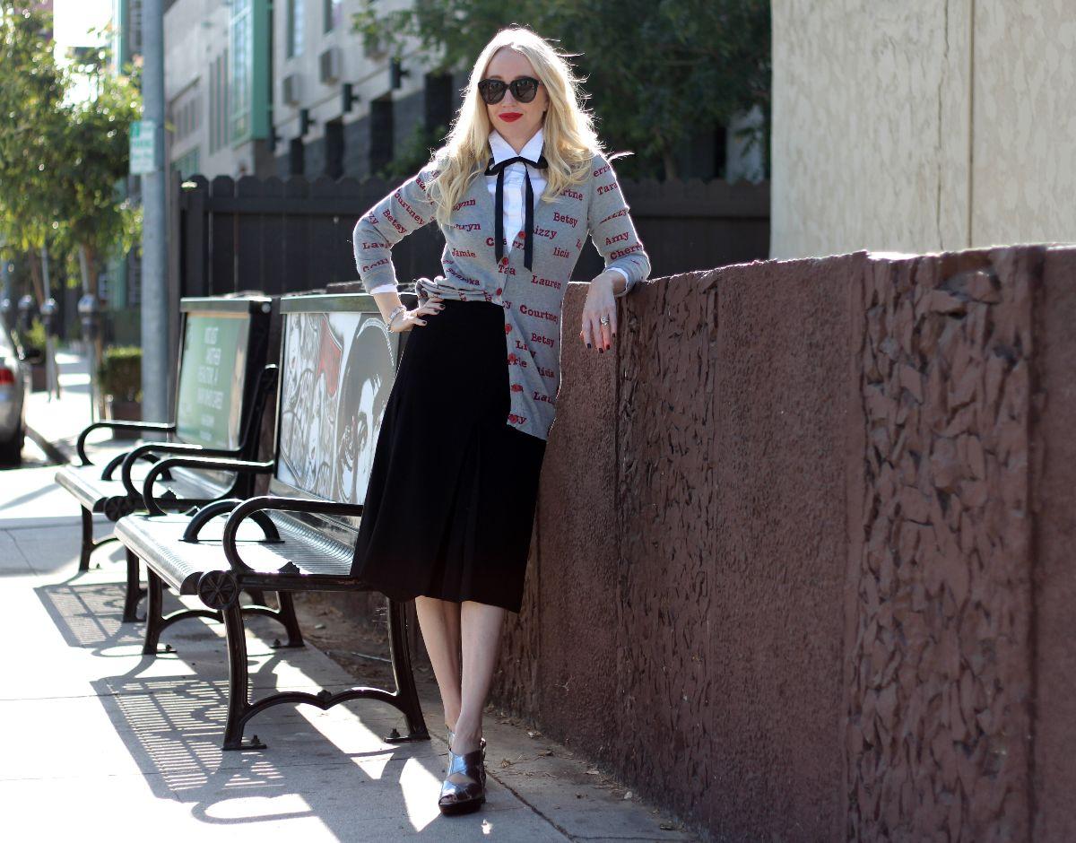 Gucci midi skirt, j crew haberdashery shirt, karen walker number one sunglasses