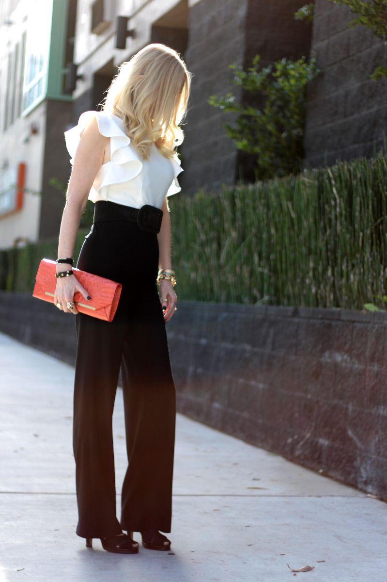 asos monochrome jumpsuit ruffle, black and white ruffle jumpsuit, asos jumpsuit