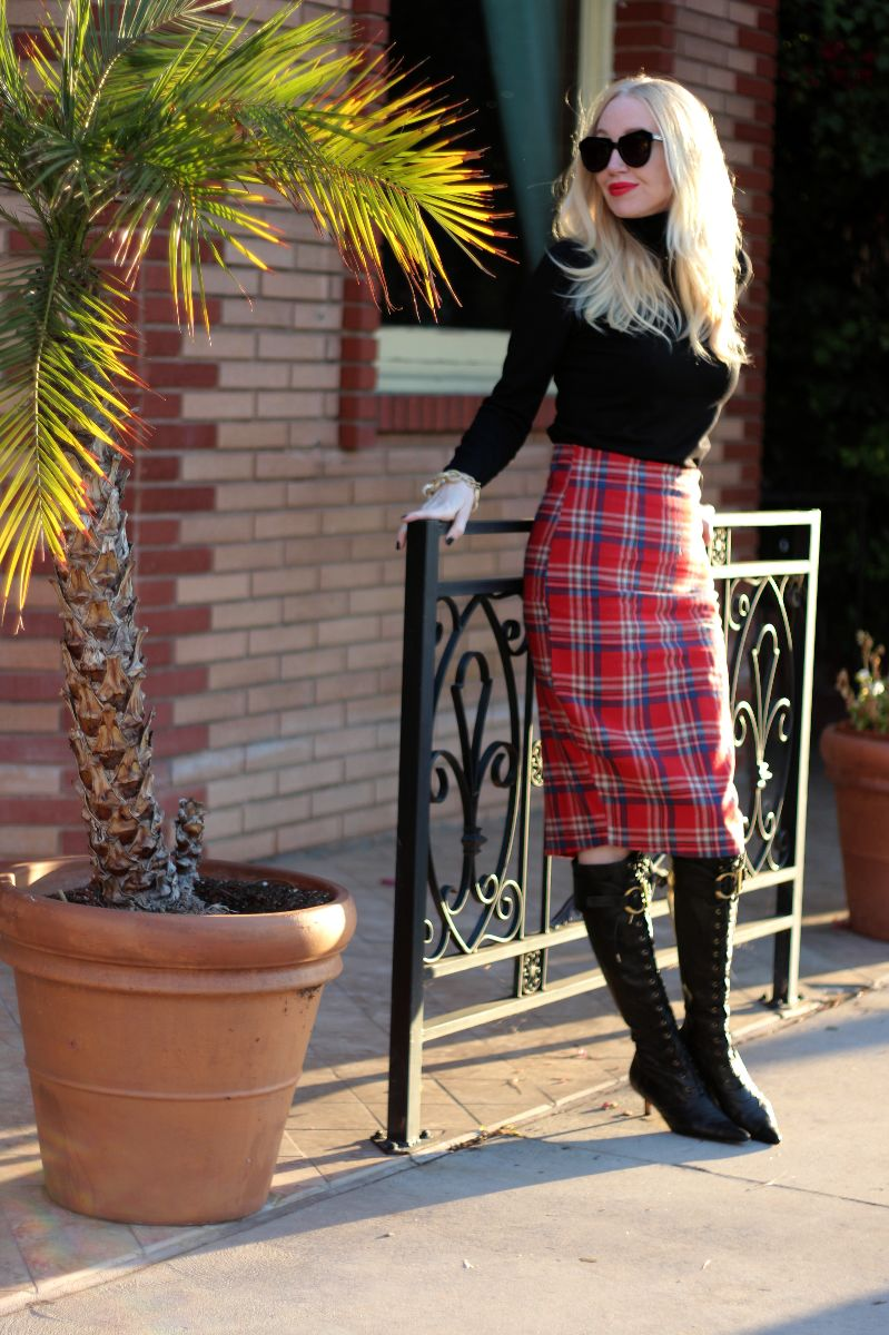 boohoo plaid skirt, tartan pencil skirt, dior lace up boots, dior ostrich boots, dior pointed toe boots, karen walker sunglasses, karen walker number one sunglasses