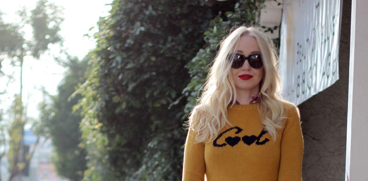 Karen Walker Number One sunglasses, Zara cool sweater, stila beso lipstick, stila beso