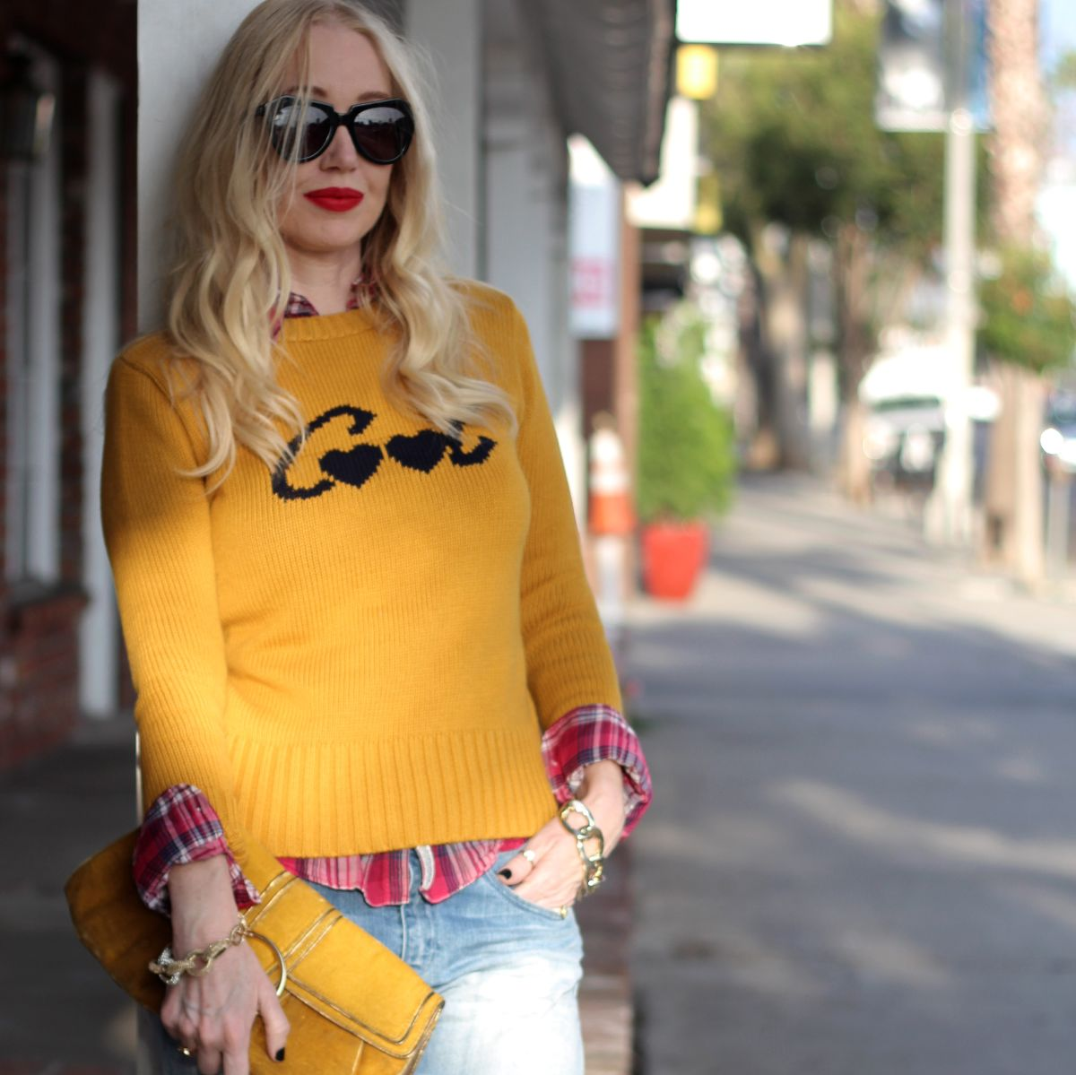 zara cool sweater, zara yellow sweater, karen walker sunglasses, stila beso, stila beso lipstick