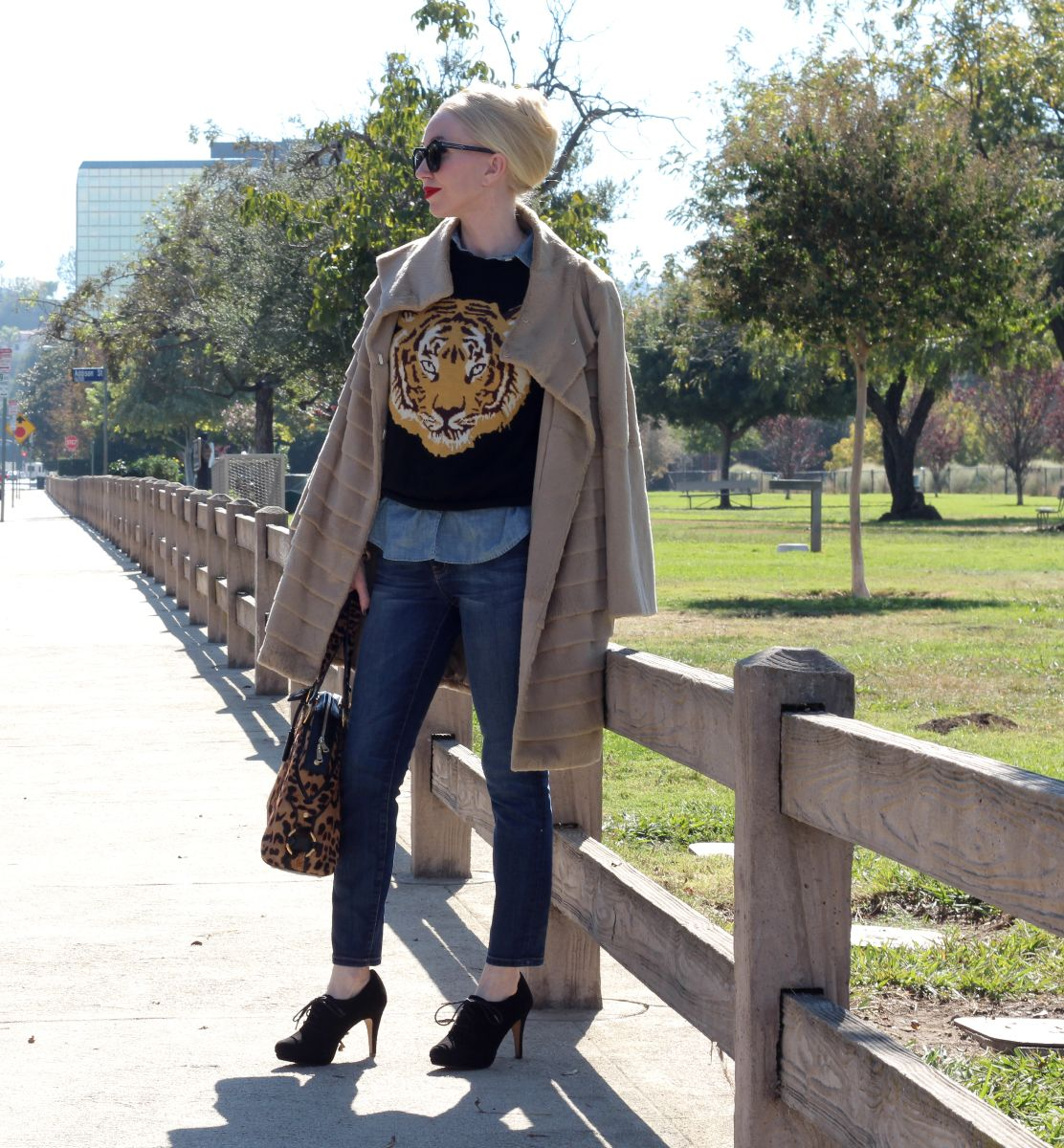 asos tiger sweater, current elliott stilleto jeans, karen walker sunglasses, ysl leopard bag