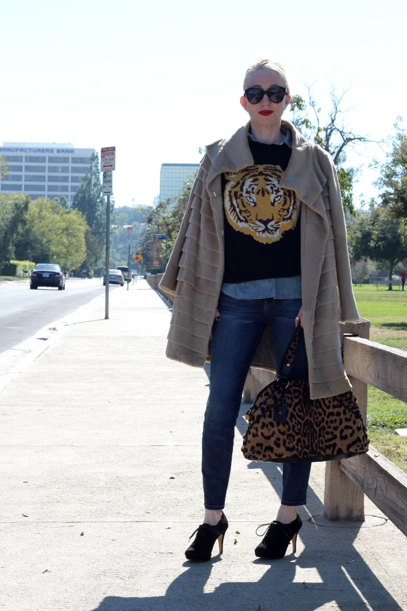 tiger sweater, asos tiger sweater, karen walker number one, ysl muse leopard, trilogy tiered coat