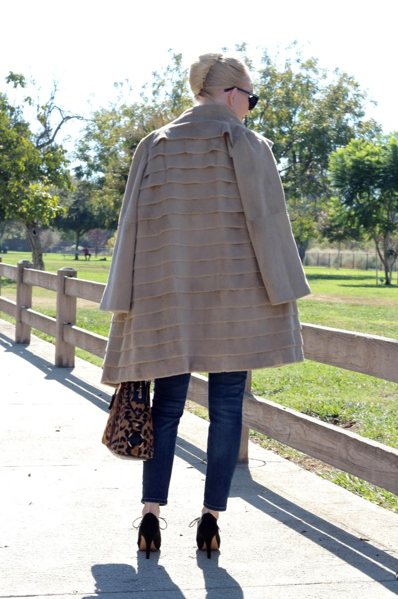french twist, trilogy tiered coat, ysl leopard bag,