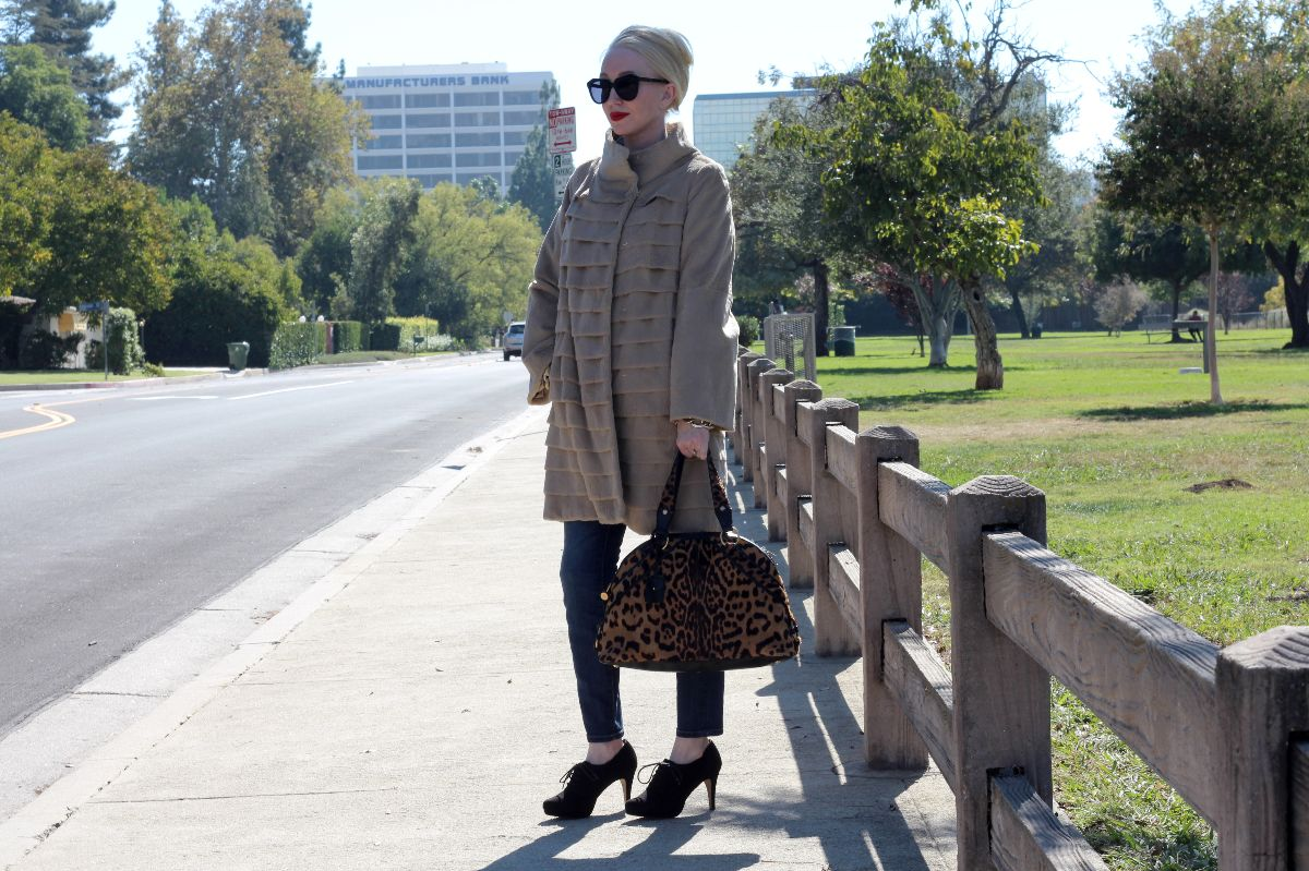 trilogy tiered coat, current elliot stilleto, adrienne vittadini pinehurst bootie, ysl muse leopard, karen walker number one sunglasses, stila beso