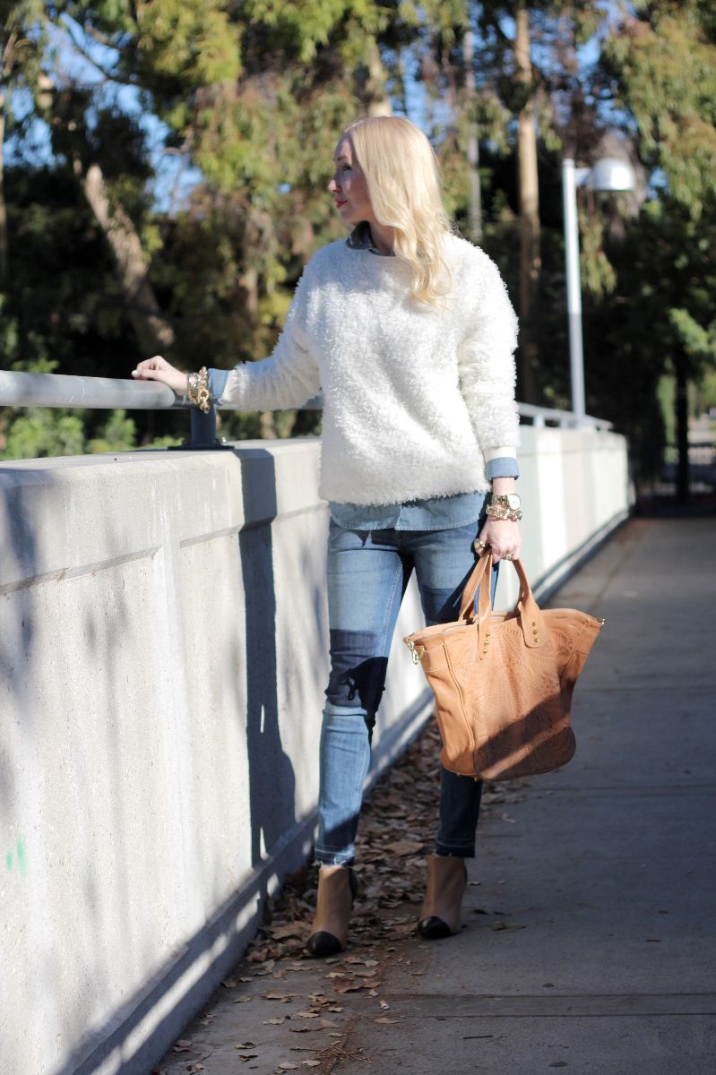 forever 21 fuzzy sweater, vania and david bag,