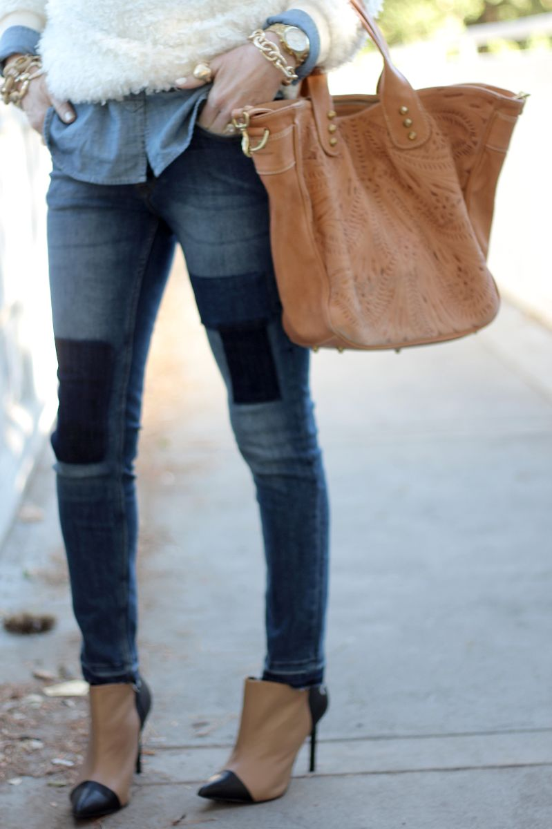 patchwork denim, h&M denim, h&m patch jeans, vania and david bag, shoemint jane booties, shoemint, sea of shoes booties,