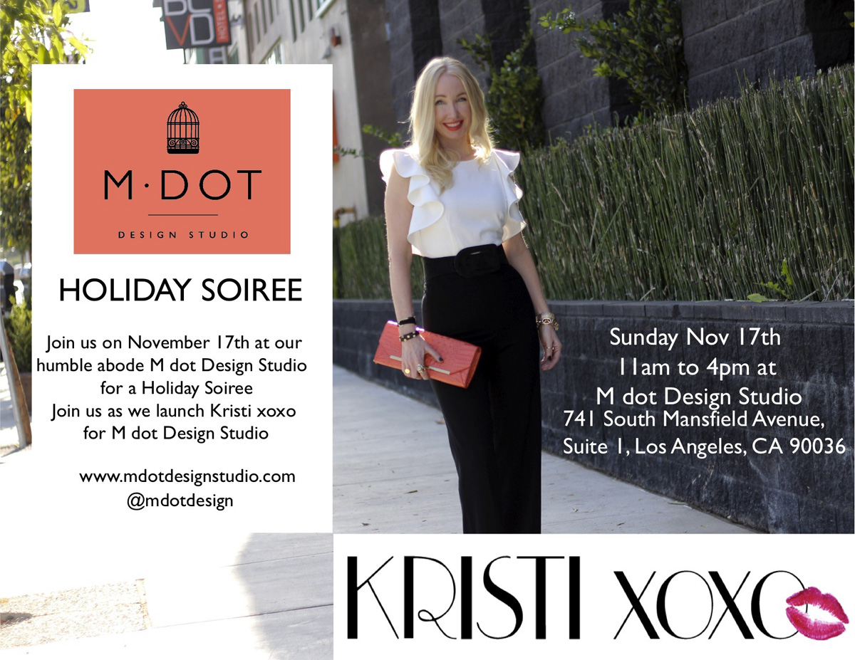 kristixoxo, m dot design studio, holiday party,  asos black and white jumpsuit, orange brahmin clutch, currently crushing,