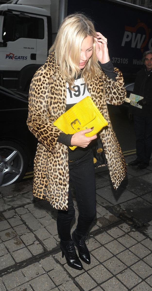 kate moss, leopard coat, currently crushing