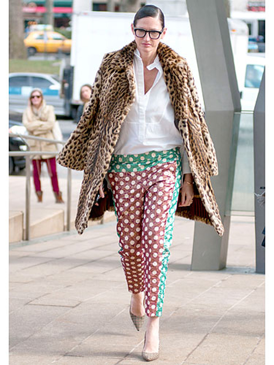 Jenna Lyons, leopard coat, currently crushing