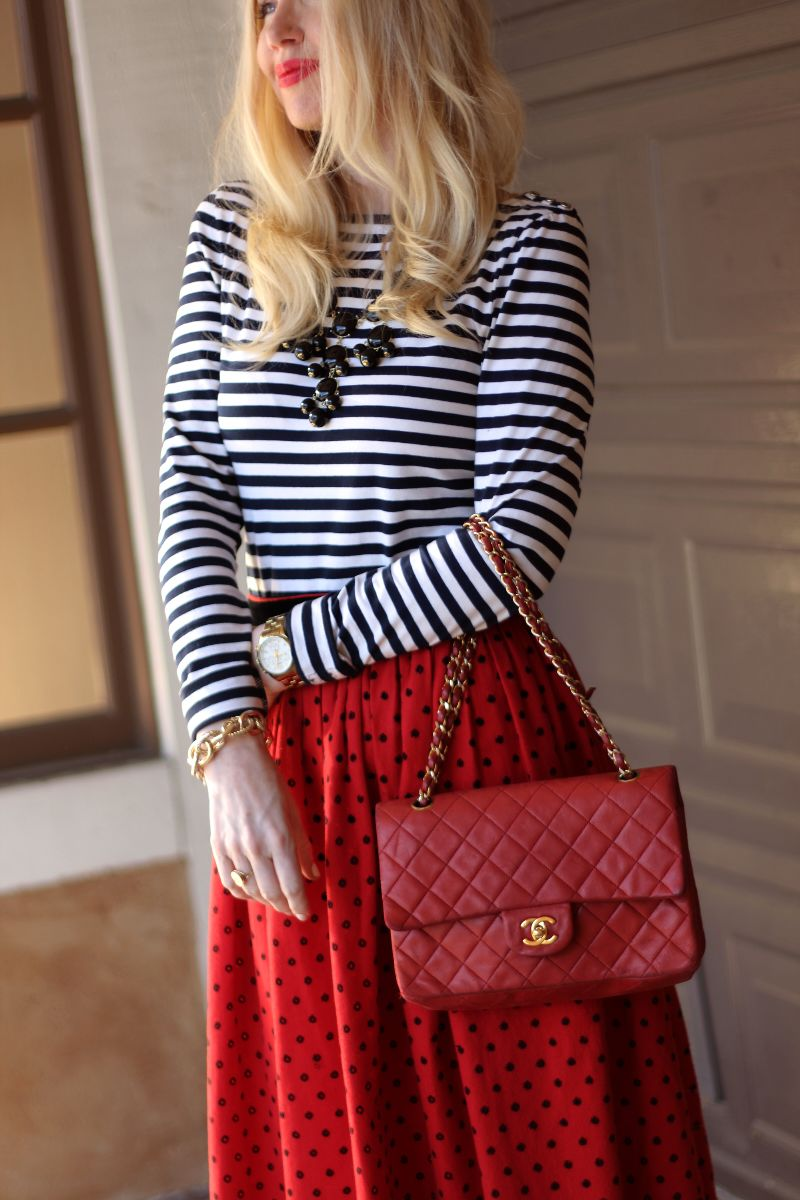 red chanel bag, vintage midi skirt, h&m striped tee