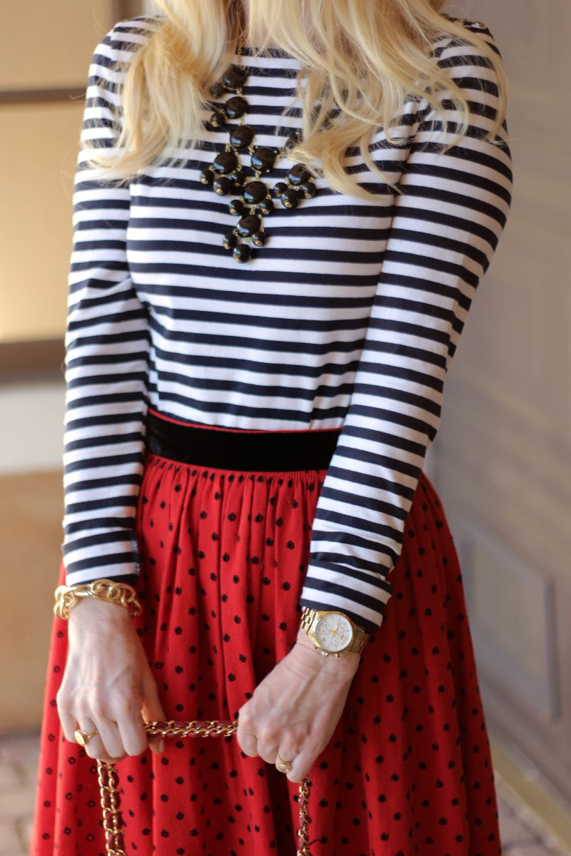 timex watch, vintage midi skirt, h & m stirped tee, wild butterfly boutique necklace, currently crushing