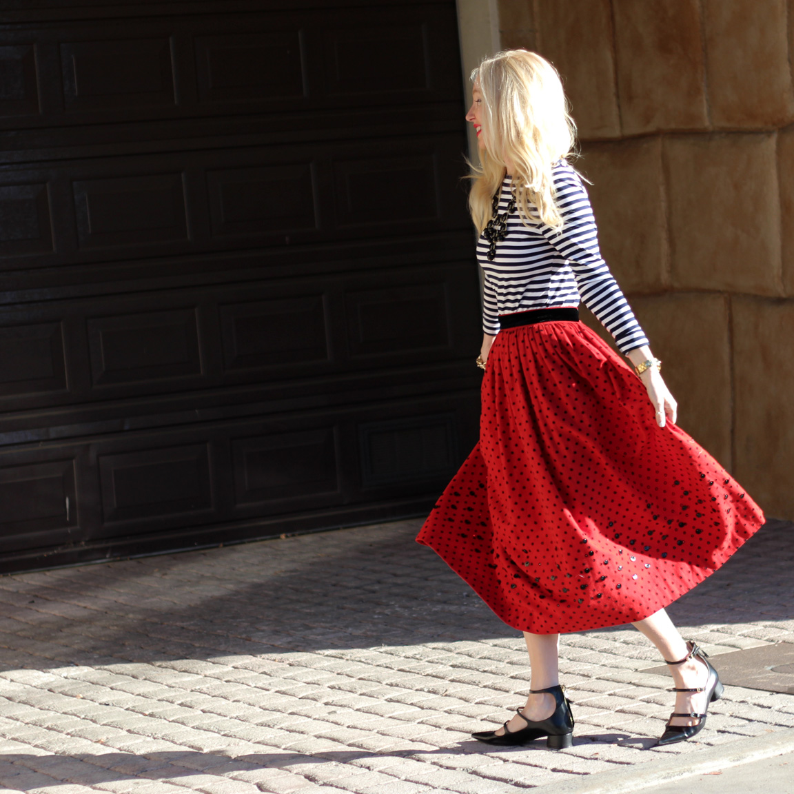 vintage midi skirt, zara pointed toe flats, kristi xoxo, currently crushing