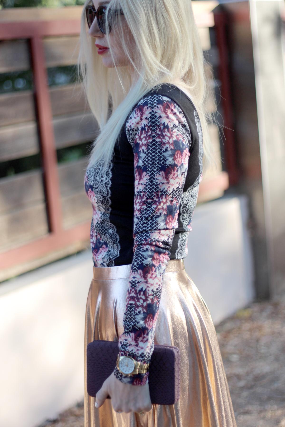 metallic midi skirt, target, boohoo,