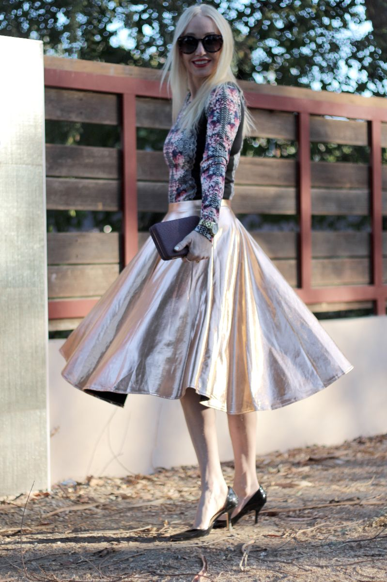 boohoo metallic skirt, bronze midi skirt, holiday skirt, target, timex dress chronograph