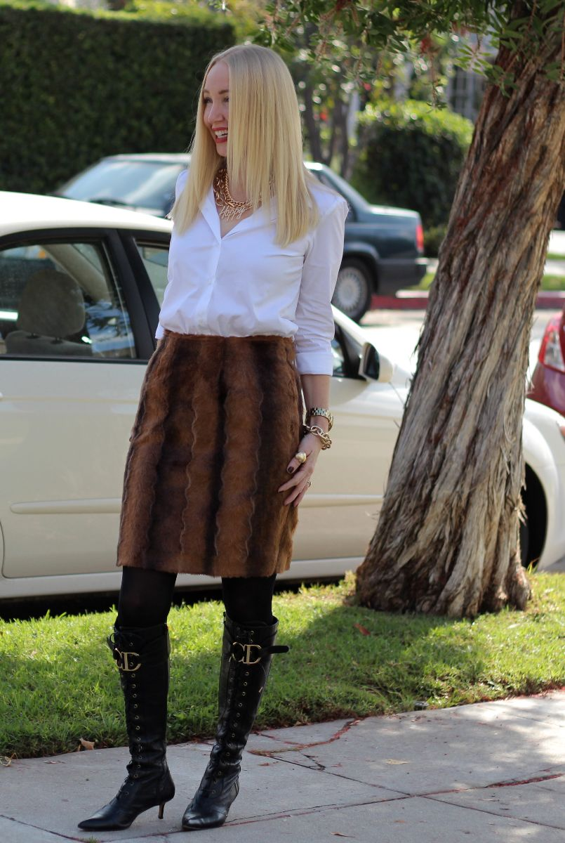 faux fur skirt, fox skirt, m dot design, kristi xoxo
