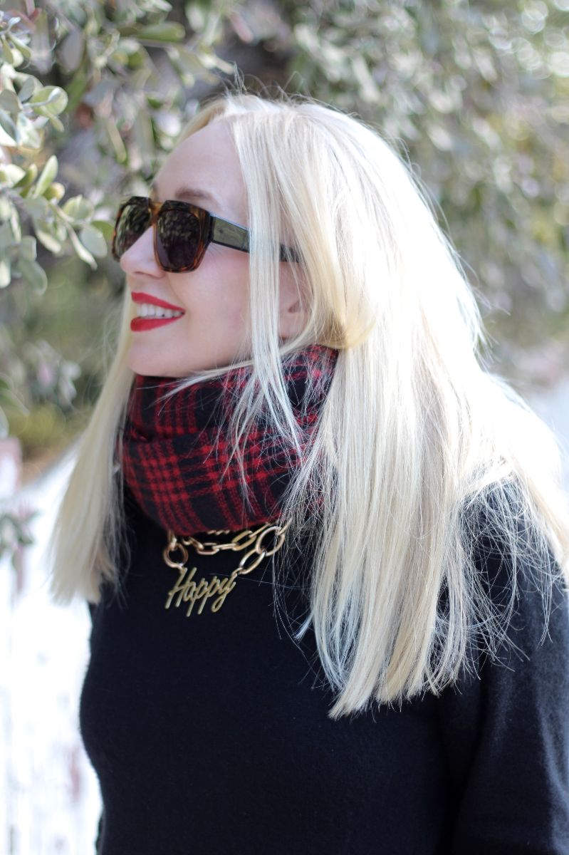 currently crushing, happy necklace, bauble bar happy necklace, zara plaid scarf, ivory mason sunglasses