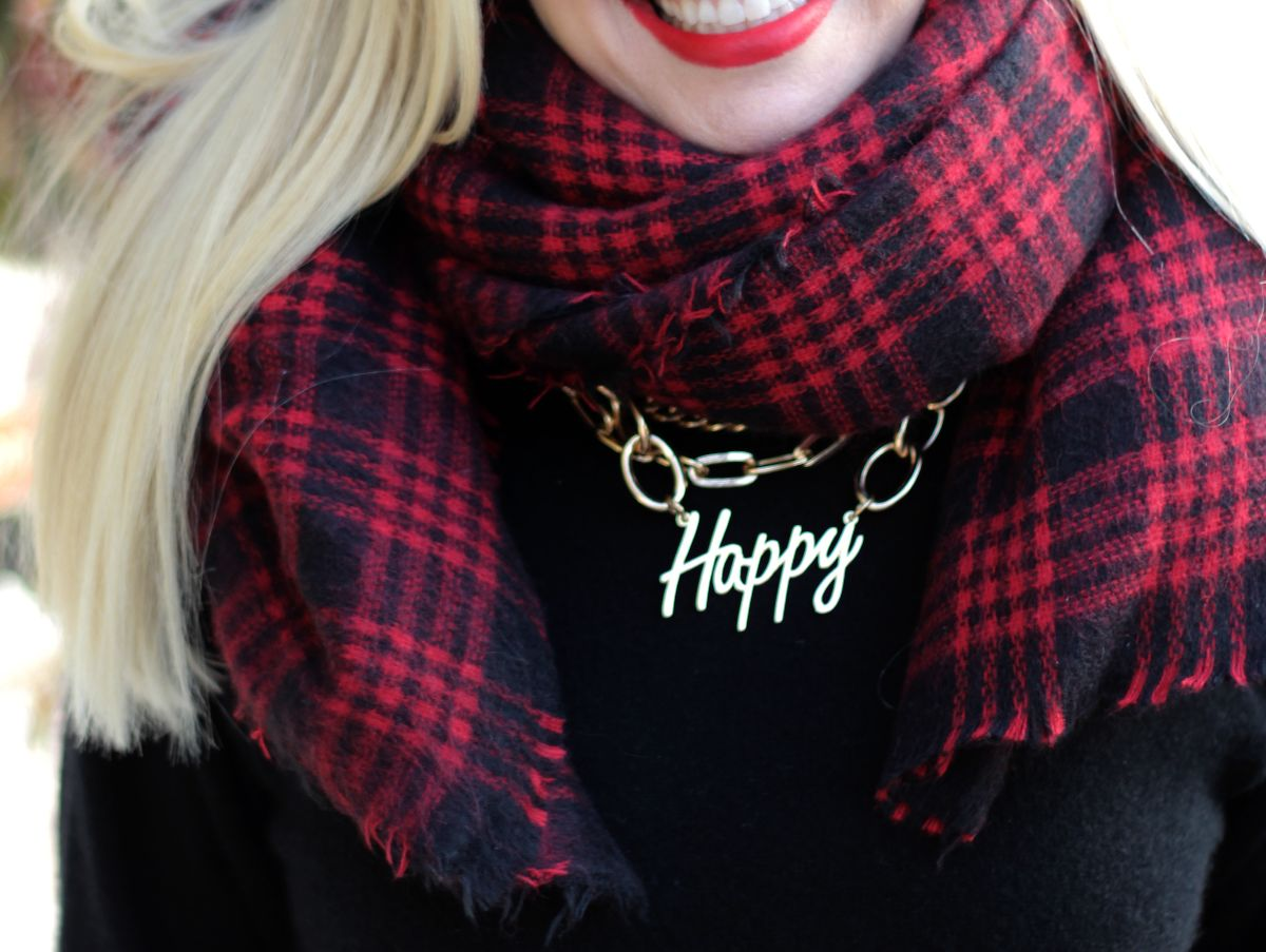 bauble bar happy necklace, zara scarf, currently crushing