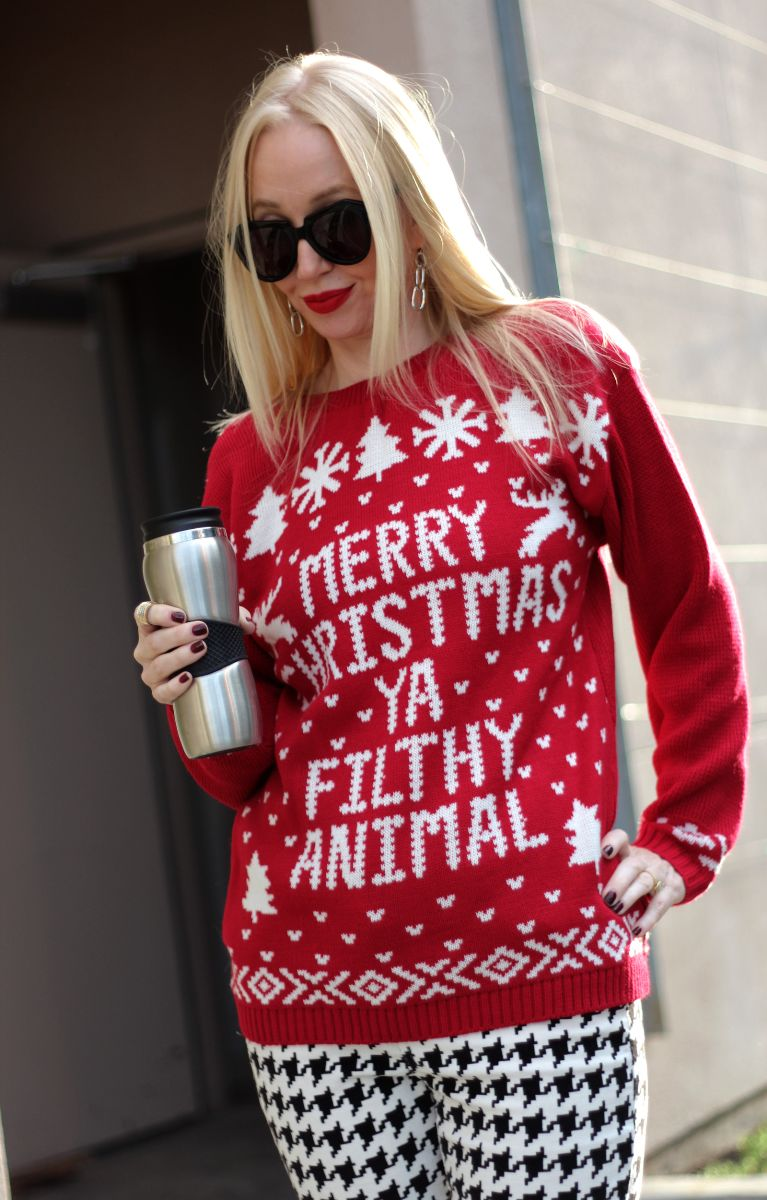 merry christmas ya filthy animal sweater, boohoo holiday sweater, karen walker number one, currently crushing