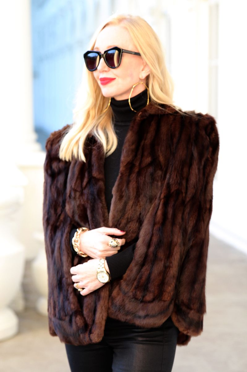 fur cape, karen walker number one, currently crushing, alexis bittar hoop earrings