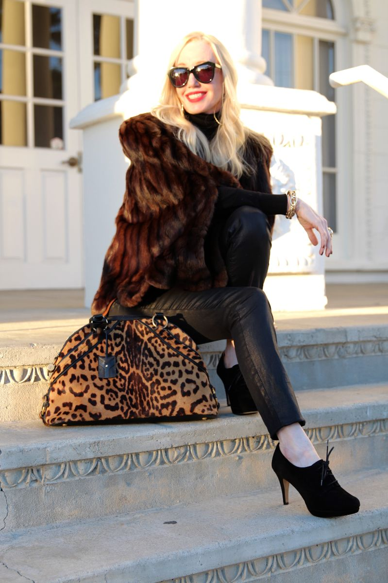 ysl muse bag, leopard ysl bag, vintage fur cape, karen walker sunglasses, karen walker number one, currently crushing