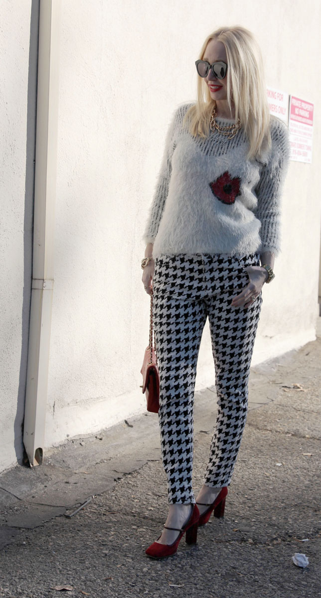 lips sweater, houndstooth pants, chanel 2.55 bag, karen walker number one, currently crushing