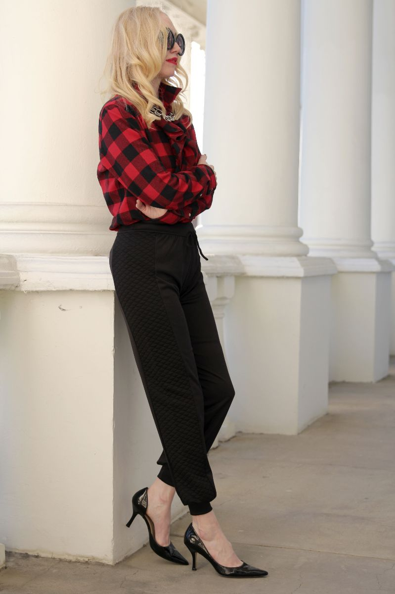 currently crushing, boohoo quilted jogger, ralph lauren buffalo check plaid