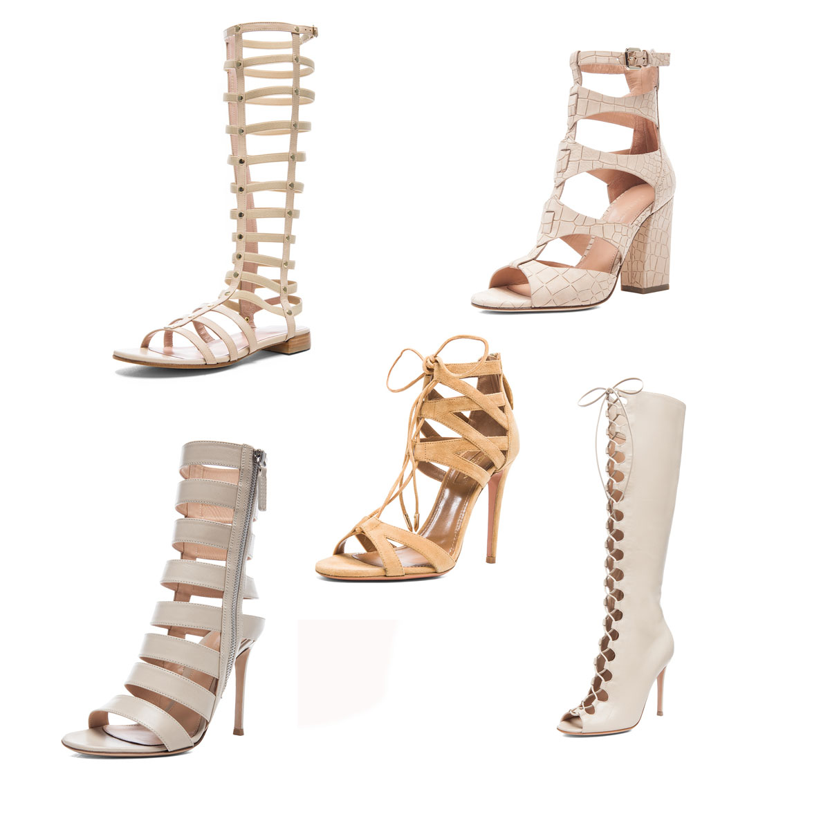 currently crushing, nude caged heels