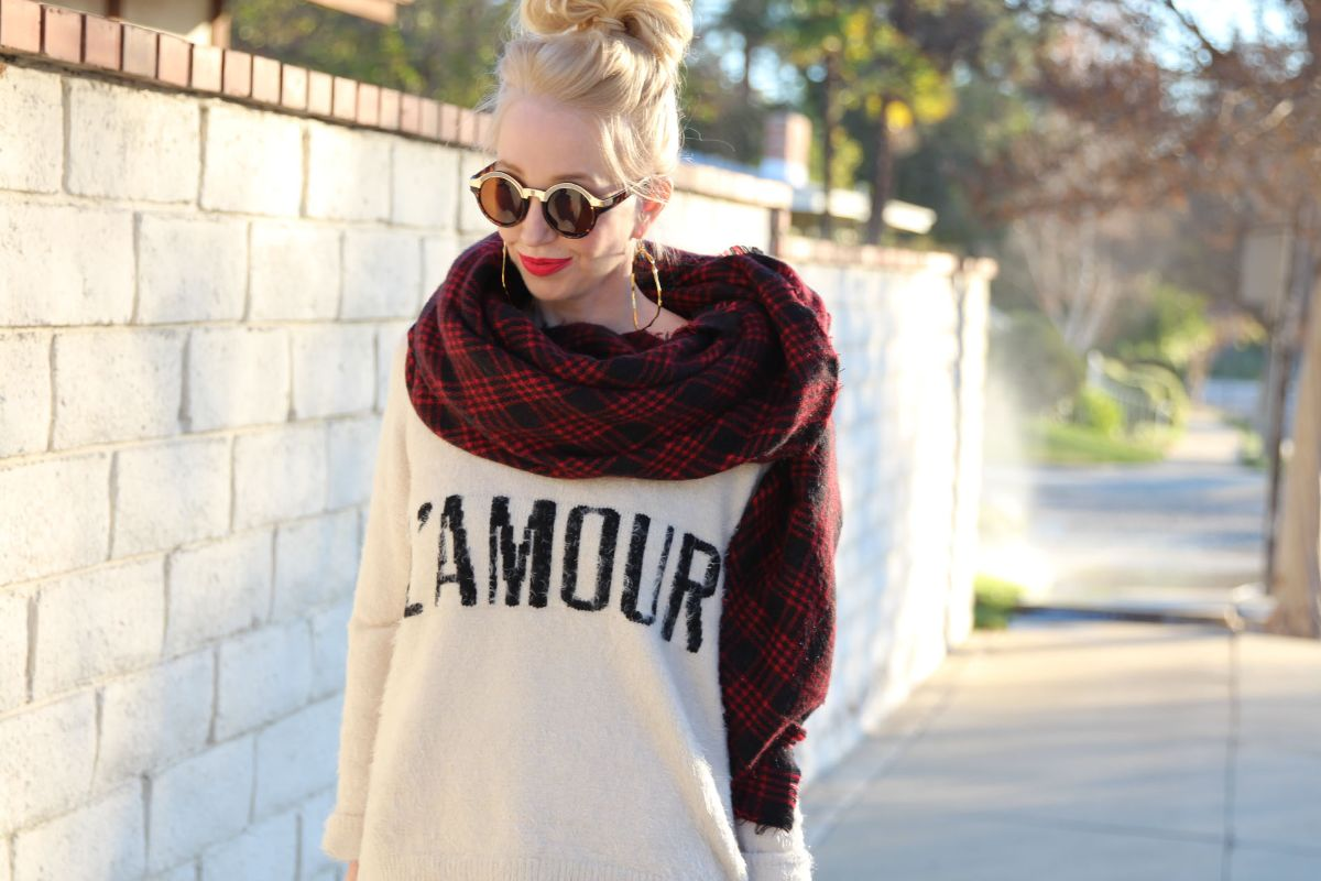 currently crushing, zara blanket scarf, l'amour sweater