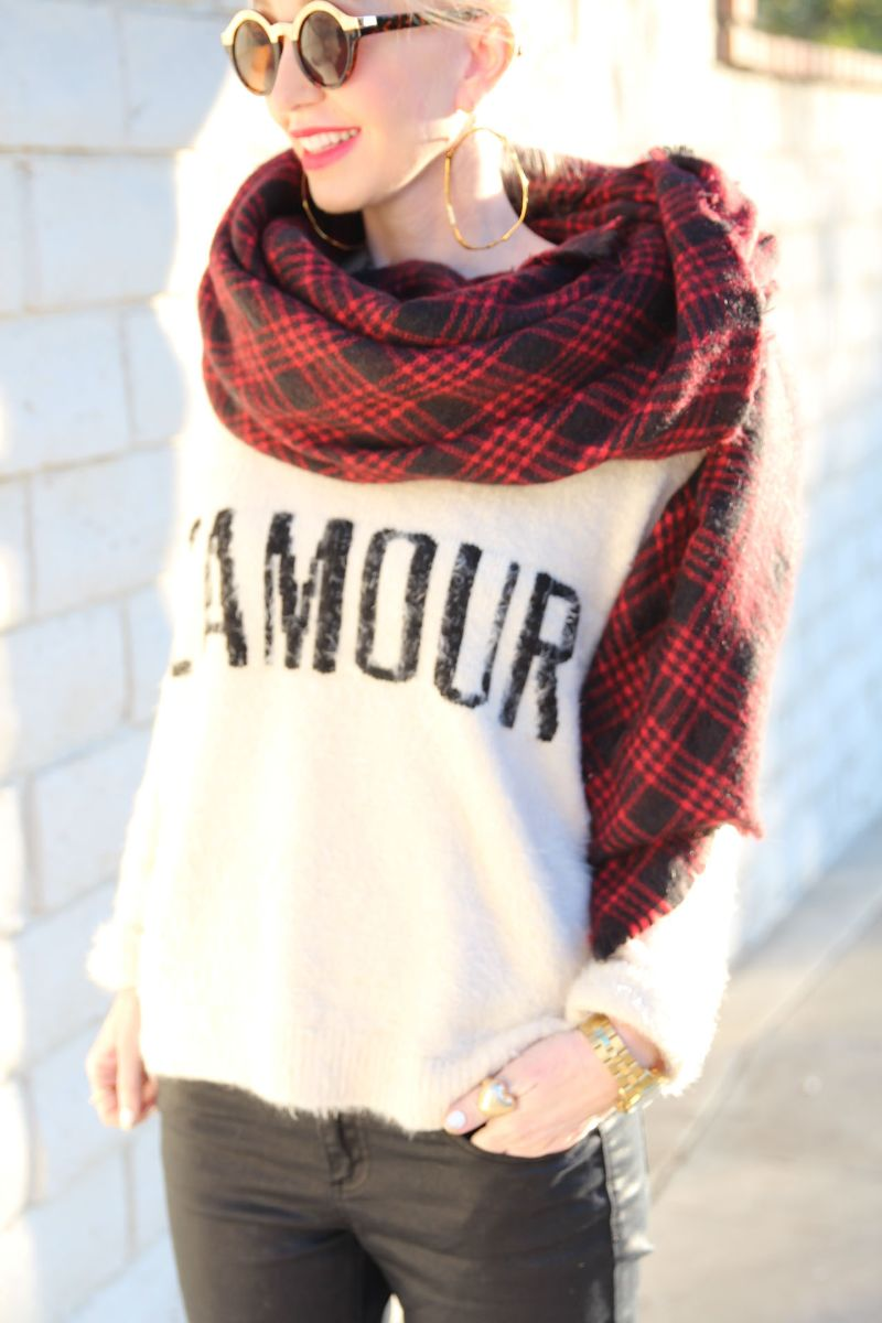 currently crushing, zara blanket scarf, l' amour sweater