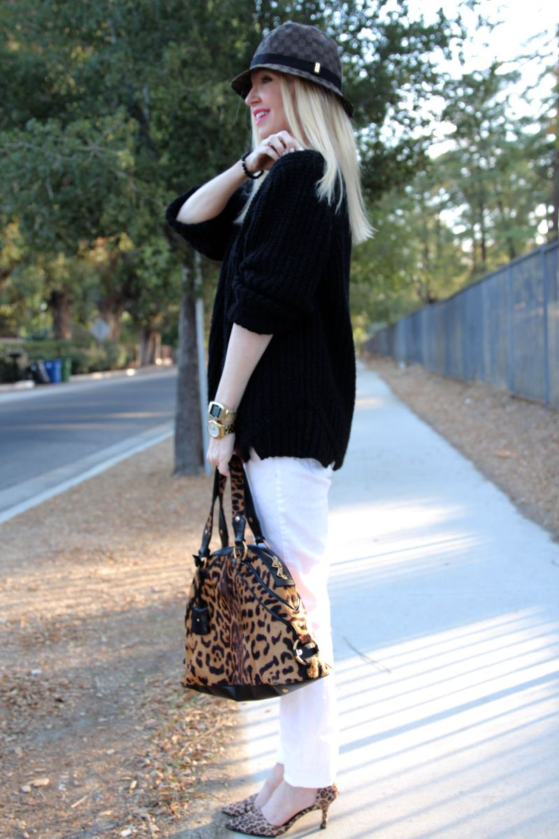 currently crushing, vince sweater, gucci fedora, ysl leopard muse dome bag