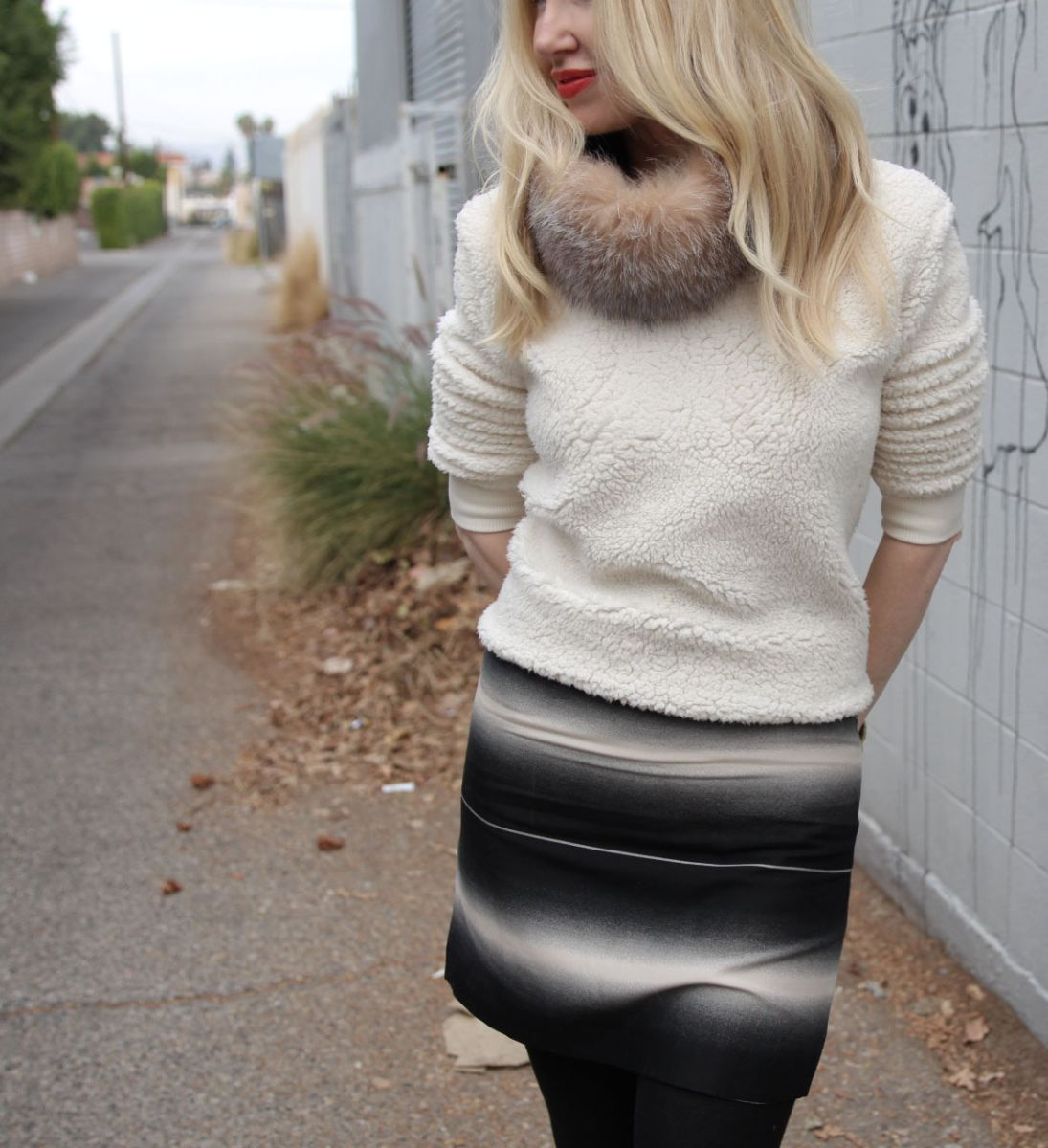 currently crushing, fur collar, marc jacobs lida skirt, kurt geiger wedge boots