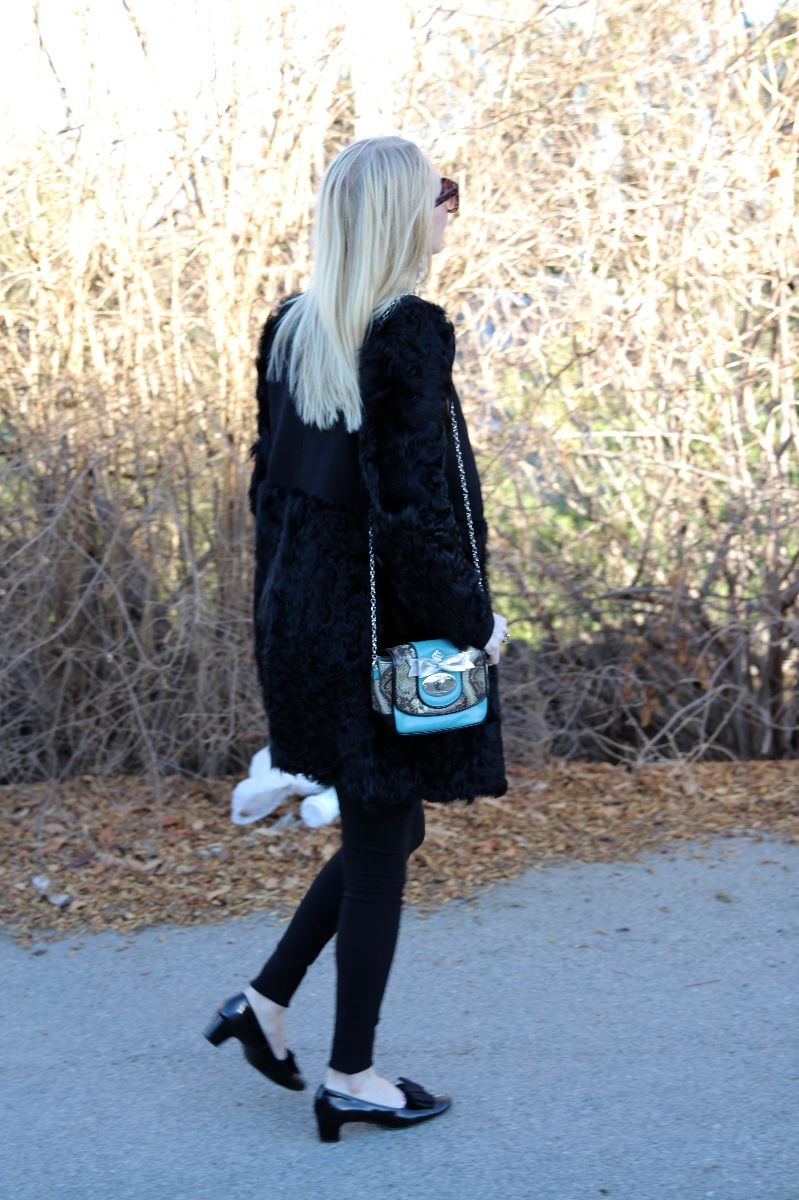 elizabeth and james black fur coat, my flat in london grafton flap pouch, currently crushing