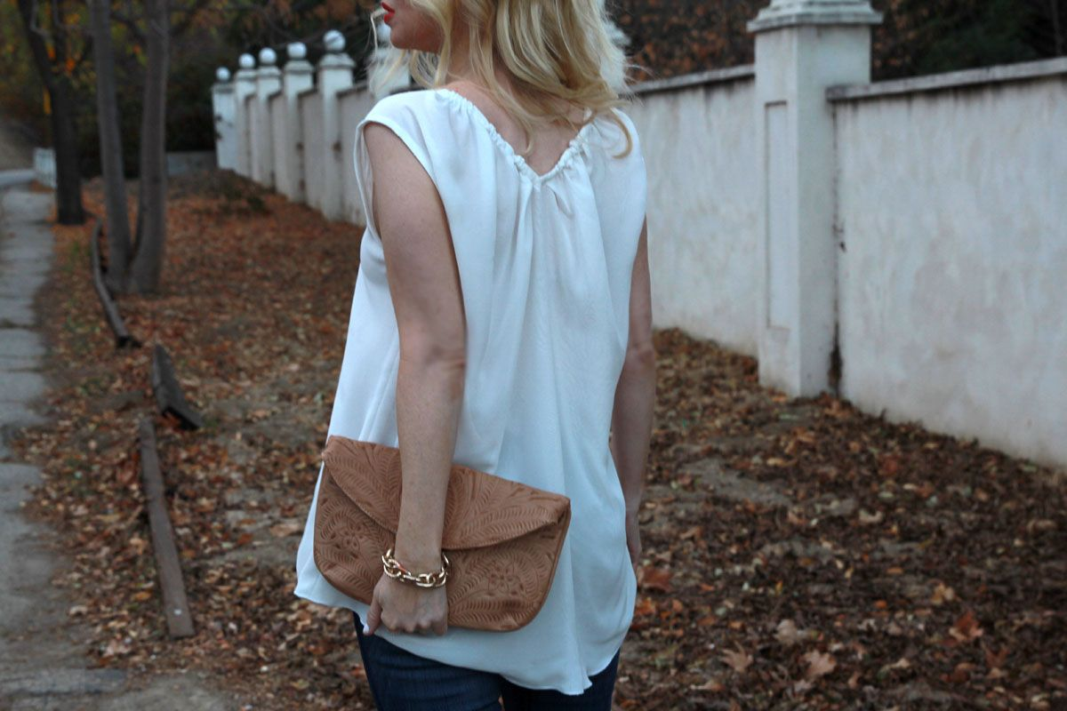 m dot blouse, vania and david clutch, currently crushing
