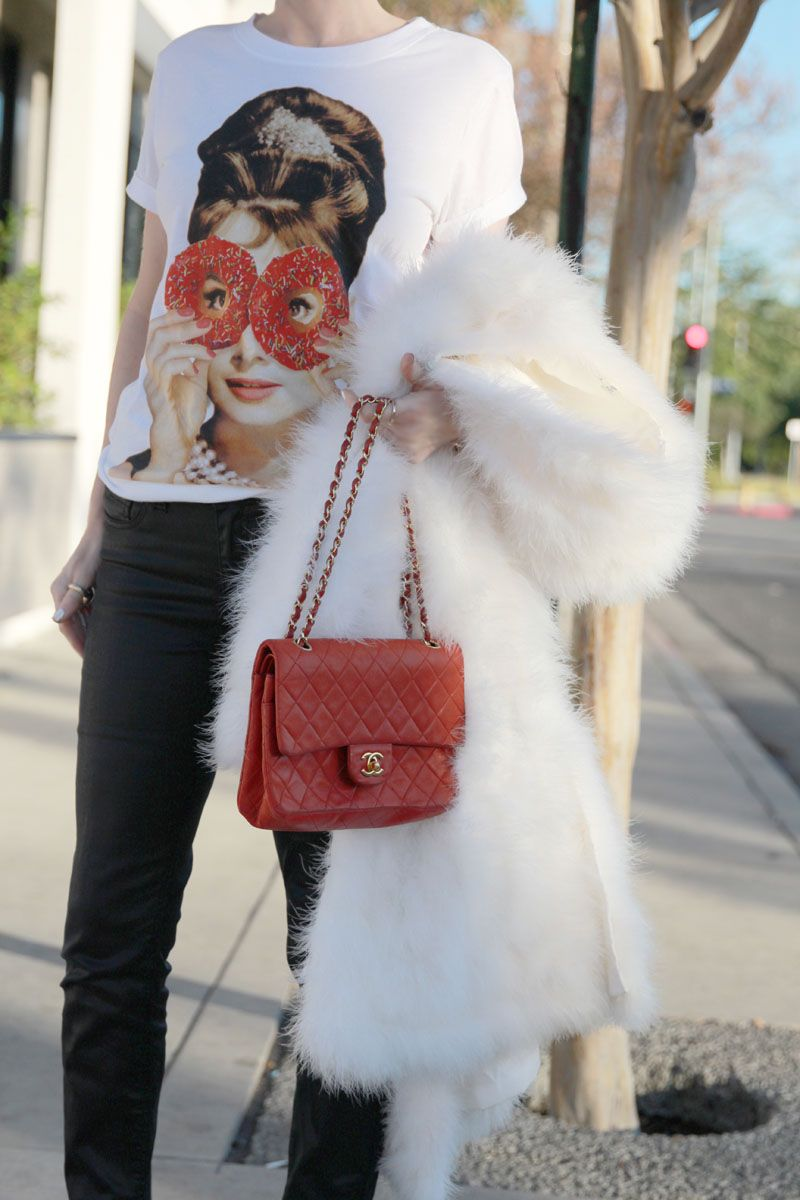Currently Crushing, Audrey Hepburn donut tee, sweet audrey tee, chanel red quilt bag,