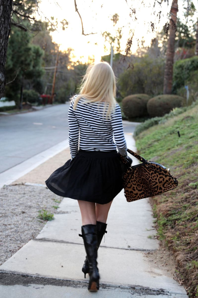 Currently Crushing, YSL leopard muse bag, striped tee, skater skirt, christian dior CD boots