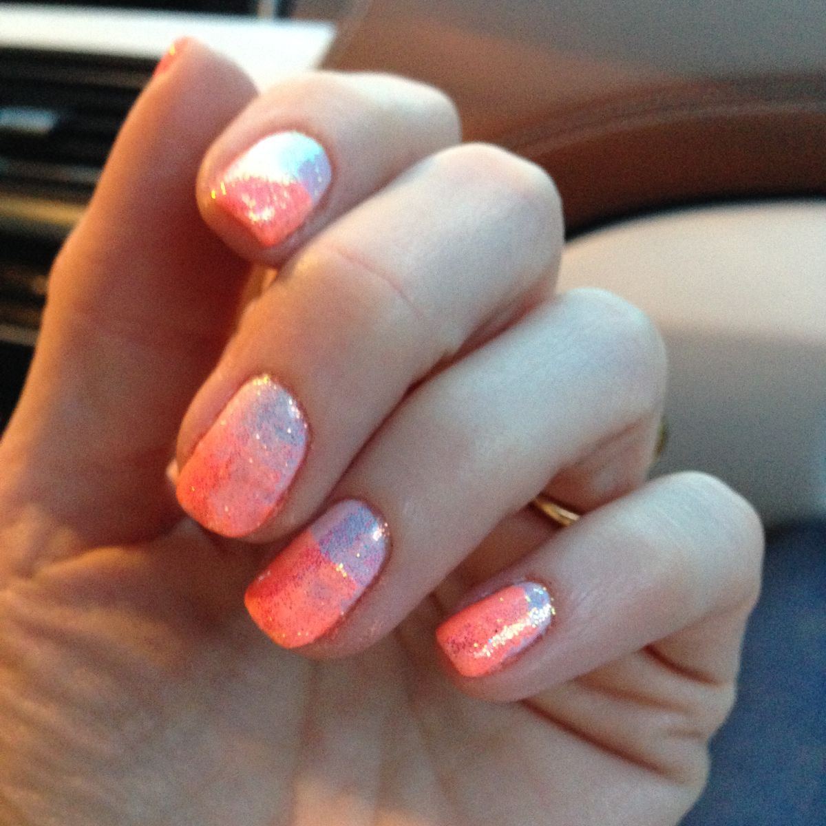 currently crushing, neon ombre glitter mani