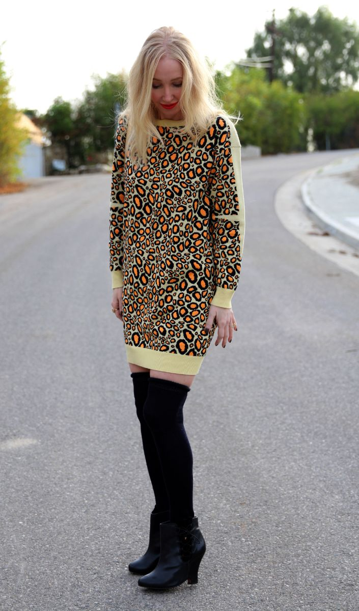 currently crushing, kenzo leopard intarsia sweater dress