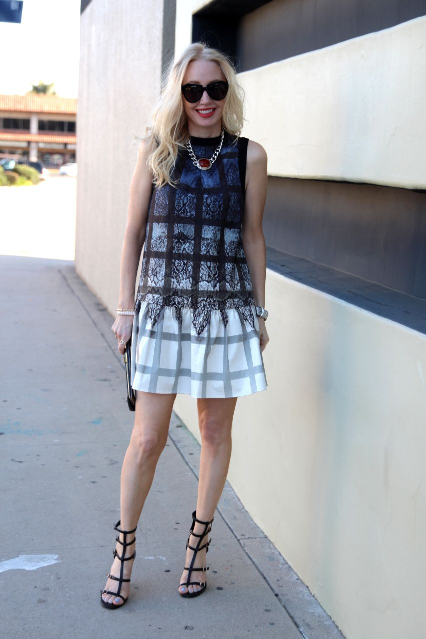 tibi lace plaid ombre on dress