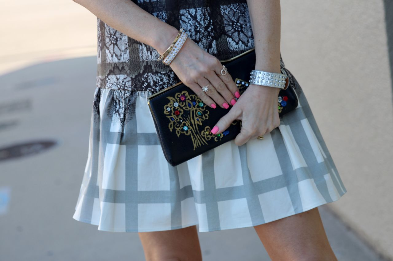 tibi lace plaid ombre on dress, vintage clutch